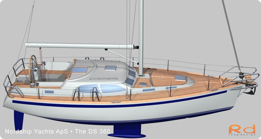 ds 360, 3d renderings, transport design, BUCHWALD & BORGHEGN, Scandinavian yacht design, family yacht, Excellent deck-saloon, danish yacht design, danish navel architecture, Lars 3d, roug 3d