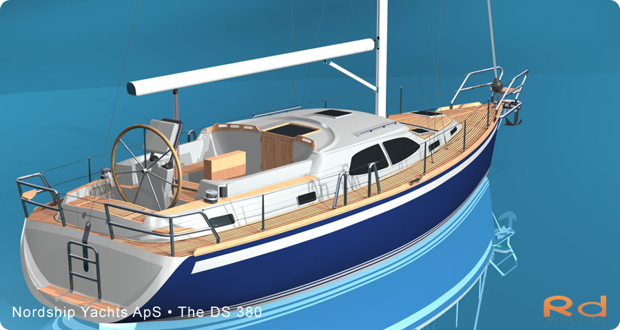 keyshot, alias studiotools, ds 380, roug design, rough designer, rouge design, Nordship 380DS, nordship yachts, 3d renderings, transportation design, BUCHWALD and BORGHEGN, Scandinavian yacht designs, family luxury yachts