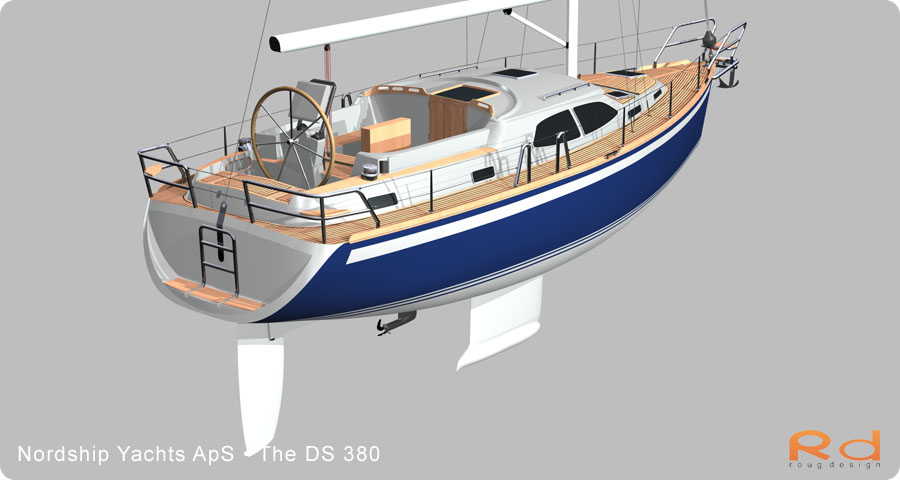 nordship 380, keyshot, alias studiotools, ds 380, roug design, rough designer, rouge design, Nordship 380DS, nordship yachts, 3d renderings, transportation design, BUCHWALD and BORGHEGN, Scandinavian yacht designs