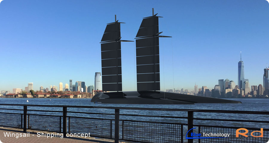 Wingsail green shipping concept, the picture are taken on Liberty island in new york. It is keyshot rendered picture where the 3d model then have been added to the picture. Roug sailing, yachting, Kristine, erik roug